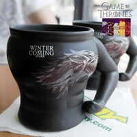 Wholesale Dragon Pottery - Retro Game of Thrones cup Stark sigil Mug creative Ice dragon totem black muscular man model ceramic coffe cup 320ml