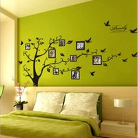 Wholesale Tree Vinyl Wall Sticker Paper - 200 * 250 large black FAMILY tree frame photo wall paper memory Large Room Photo Frame Art Decoration Wall Decal Sticker Tree Wallpaper Kids