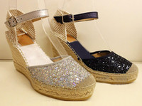 Wholesale Straw High Heeled Pumps - Sandals Female summer wedges High heels in baotou waterproof Hemp straw sequins fisherman shoes Pumps 2016 New Black silver Single shoes