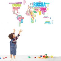 Wholesale Removable Wallpaper Prices - Wholesale Price Mode Funny Removable Colorful Letter World Map Vinyl PVC Wall Sticker Wallpaper Home Decor Mural DIY Art 90x60cm