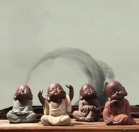buddha chinês ornamentos venda por atacado-Chinês Handmade Adorável Tea Set Chá Pet Areia Roxo Buda Monk Tea Acessórios Para Casa Decoração Do Carro Zisha Cerâmica Ornamento Decoração