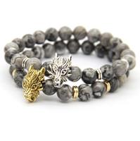 Wholesale Bracelet Wolf - 2016 New Design Mens Jewelry Wholesale Best-selling 8mm Grey Veined Picture Jasper Stone Wolf Beaded Bracelet, Courage Bracelet Mens Gift