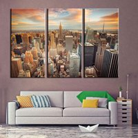 Wholesale Oil Painting Paris - Modern oil painting art gallery 3 pieces of cloth Paris Tower view of the night view of the city in the canvas on the canvas of the family w