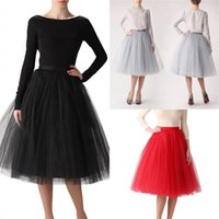 Wholesale cheap white adult tutu - Cheap Ball Gown Maxi Tutu Skirts For Women Ruffled Tulle Tea Length Adult Women's Skirts Lady Formal Party Wedding Guest Skirts 12021