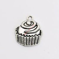 Wholesale Jewelry Pendant Cakes - 10pcs Antique Silver Plated Cake Charms Pendants for Necklace Jewelry Making DIY Handmade Craft 22x19mm