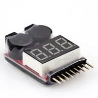 tester niederspannung großhandel-für 1-8S Lipo / Li-Ion / LiMn / Li-Fe Batteriespannung 2IN1 Tester Niederspannung Summer Alarm BB Sound Hinweis für Modellflugzeug UAV