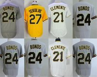 Pittsburgh # 21 Roberto Clemente Base Cool 24 Barry Bonds 27 Kent Tekulve Bianco Giallo Grigio Throwback Retro cucito Flexbase