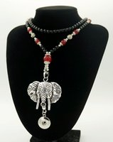 Wholesale Jewlery Bead Necklace - NEW 2016 Stone Beads necklace Elephant pendant Snap Necklace 76CM fit 18MM snap buttons jewlery wholesale women