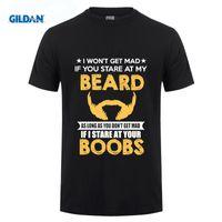 Wholesale Funny Beard Styles - Stranger Things Design T Shirt 2017 New O-Neck Style Rude Beard T Shirt I'Ll Stare At Your Boobs Funny Bearded Man Tee shirt