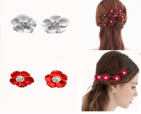 2015 Noiva de moda Red Crystal White Flower Bridal Wedding Hair U Pin Clips Decorative.women Girl Party Prom New Hair Jewelry 12 Piece