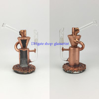 Wholesale copper functions - copper plating glass bong recycler good function 14.5mm male joint oil rigs with dome and nail