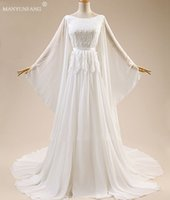 Wholesale Corset Big Wedding Dress - White Big Sleeves Wedding Dresses Sheath Bridal Gowns Scoop Neckline Corset Long Bell Sleeves Appliques Flowers Sweep Train Wedding Dress