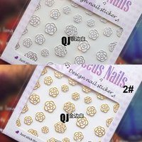 Wholesale Sticker Golden Nail - Golden Silver Black White Color Rose Flower Designs 3D Nail Sticker 8 Style Pattern 3D Nail Decal 10 Sheet Lot Nude Packing
