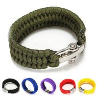 Wholesale Cord Metal Clasp - Men Self rescue Paracord Parachute Cord Metal buckle Bracelets Whistle Buckle Survival Camping Travel Kit Mlticolor Mixing a842