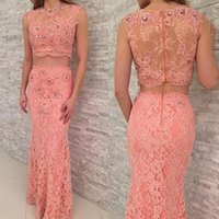 Wholesale Evening Dress Sheath - Pink Full Lace Evening Dresses Two Pieces Prom Gowns With Crystal Beaded Sheath Sexy See Through Party Gowns