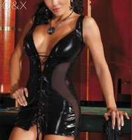 Wholesale Sex Clothes Latex - XX9 2017 Solid Black Leather Lingerie Fuax Leather Sex Erotic Clothes See Through Mesh Draped Sexy Lingerie 2XL Sexy Tie Costume