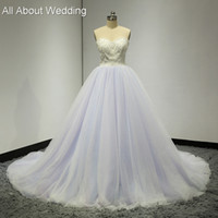 Wholesale Wedding Dress Colored Beading - Sweetheart Colored Wedding Dresses Purple pink blue Tulle Layers Pearl Beaded Luxury Fairy Romantic Bridal Gown Real Photo