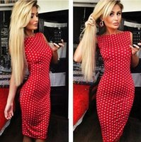 Wholesale Womens Tight Dresses - WISHCART 2016 Dot drain back red dress sexy tight dress. womens dresses