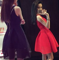 Wholesale Red Mesh Skater Dress - 2016 New Style Summer Dress O-Neck Sleeveless Front Zipper Sexy Club Mini Party Dress Hollow Out Mesh Black Skater Dress