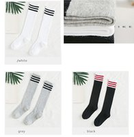 Wholesale Wholesale Flats For Toddlers - 2017 kids socks cotton girls knee high socks school baby toddler long stripe socks for girls flats 3 color choose