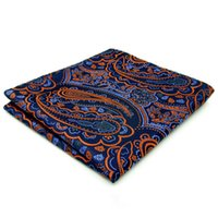 Wholesale Silk Necktie Handkerchief - QH8 Handkerchief Paisley Orange Blue Black Pocket Square Mens Neckties Jacquard Woven Hanky