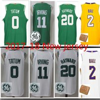 Wholesale Gordon Jersey - 2017-18 New #11 Kyrie Irving Jersey Men's 20 Gordon Hayward 0 Jayson Tatum 2 Lonzo Ball Jerseys Free Shipping