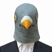 ingrosso caricamento del cacciatore nero-All'ingrosso-Creepy Pigeon Head Mask Latex Prop Costume cosplay Animal Party Halloween Giant Bird Head Mask