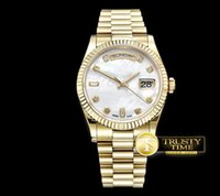 AAA Usine Top Yellow Gold DayDate 36mm Mouvement automatique Sapphire Crystal hommes regarder nouveau style