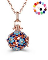 Wholesale Necklace Ball Diamonds - Silver Gold Hollow Flower Cage Locket Aromatherapy Essential Oil Diffuser Pendant Chain Necklace With Balls