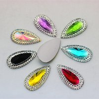 100Pcs 16 * 30mm Drop Pear Shape Resin Rhinestone Stones Cabochon Flatback Beads Crystal Jewelry Accessories ZZ296