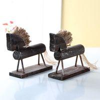 Wholesale horse house - 4PCS 14*13cm Handmade Wood Horse Natural Color Creative Gifts Desk Decoration House Ornaments