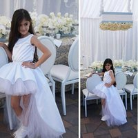 Wholesale Layered Tulle Kids - 2017 Hi-Lo Ball Gown Girls Pageant Dresses with Boat Neck Sleeveless Layered Long Overskirt Tulle Short Cheap Kids Birthday Party Dresses