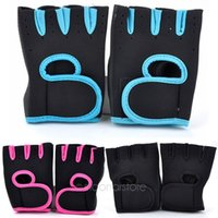 Wholesale C Gloves - Outdoor Sports Half Finger Gloves Gym Weilifting Leather Gloves Bodybuilding Exercise Mitten Training Fitness Bike c