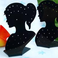 figura dama de la moda al por mayor-10pcs 140x90mm Lady Figure Acrylic Stud Earring Display Stand, Showcase Counter Table New Fashion Jewelry Stand porte bijoux jewelry holder