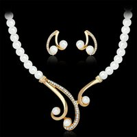 Wholesale Korean Pearl Diamond Necklace - New fashion necklace earring sets Korean pearl diamond necklaces elegant jewelry set for women free shipping
