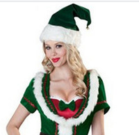 Women stage market - New Green Elves Christmas Costume Elf Hat Butterfly End Waist Short Sleeve Uniform Temptation Night Market Stage Costume