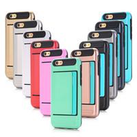 iphone 5c kreditkartenetui großhandel-Hybrid Slide Kreditkarten Slot Brieftasche Handy Handy-Fall-Abdeckung für Iphone 5 5C 5SE 6 6PLUS