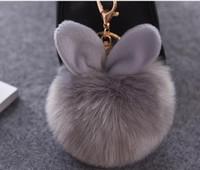 Wholesale Lucite Handbags - Car Fluffy Faux Rabbit Ear Fur Ball Key Chain Holder Pompom Artificial Rabbit Fur Keychain Women Car HandBag Keyring