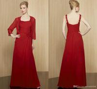 kırmızı bolero elbisesi toptan satış-Kırmızı Uzun Gelin / Damat Elbise Ceket ile anne / Bolero Şifon Spagetti Zarif Pleats Boncuklu Sequins Kadınlar Örgün Akşam elbise 2019