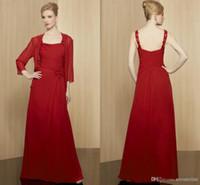 vestido bolero rojo al por mayor-La madre de la novia larga roja / Novio vestidos con chaqueta / Bolero gasa espagueti elegante pliegues lentejuelas mujeres formales vestido de noche 2019