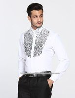Wholesale Dress Shirt Performance - Free shipping white sequined mens tuxedo shirts stage performance wedding party shirts