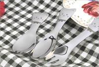 Wholesale sweet spoon resale online - Cartoon cat pattern spoon and fork Sweets ice cream scoop Creative children s fork stainless steel tableware