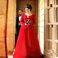 velvet wear 2018 - Red Long Sleeve Evening Dresses - Velvet V neck Arbaic sexy back Dresses for evening wear prom gowns