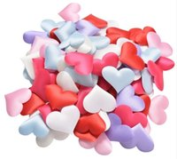 Wholesale Cheap Wedding Confetti - cheap ! Free shipping 100pcs Fabric Heart dia 2cm Wedding Party Confetti Table Decoration birthday party Decorative Supplies