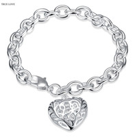 Wholesale Silver Hollow Heart Charm Bracelet - Hot 925 Silver hollow heart pendant charm bracelet woman fashion jewelry Valentine's Day gift low price wholesale free shipping