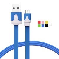 Wholesale Quality V8 Flat Micro Usb - High Quality 1M 2M 3M Flat Noodle Colorful v8 Micro USB 2.0 Charger Cable Data Sync for Samsung android cable