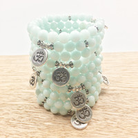 Wholesale Om Beads - SN1030 Fashion Aquamarine Om Bracelet Power Beads Blue Bracelet Fashion Yoga Bracelet Wholesale Best Gift For Him