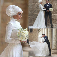 Wholesale Islamic Hijab Muslim Wedding Dresses - Long Sleeves Muslim Wedding Dress 2016 High Neck Lace Long robe de mariage Islamic Arabic Wedding Dresses with Hijab BA1023