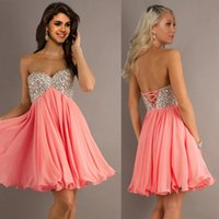 Wholesale Cheap Empire Waist Mini Dresses - 2016 Custom Made Cheap Empire Waist Strapless Sweetheart Beads Party Dresses Mini Corset Prom Dresses Homecoming Dresses mo13