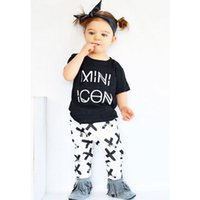 Wholesale Toddler Boys Shorts Pattern - wholesale 2016 kids girls letters clothes baby 2 pieces clothing toddler summer sets children casual short sleeve t-shirt pattern pants suit